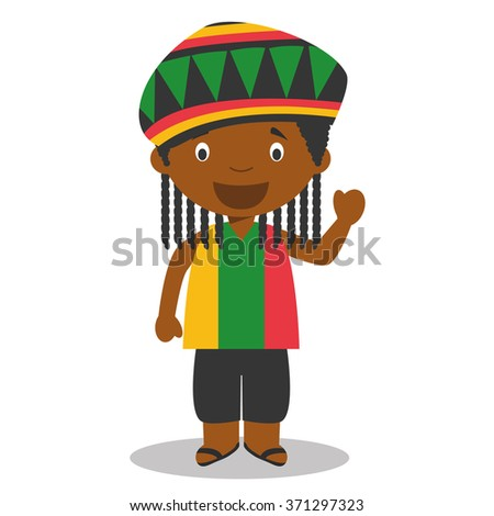 Character from Jamaica dressed in the traditional way with dreadlocks. Vector Illustration. Kids of the World Collection. - stock vector