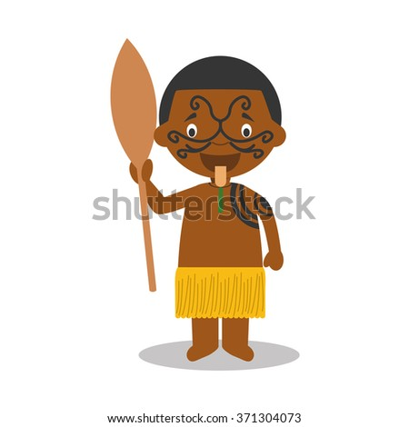 Character from New Zealand dressed in the traditional way of the Maori tribe. Vector Illustration. Kids of the World Collection.  - stock vector