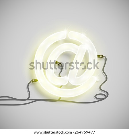 Character made by neon font, vector - stock vector
