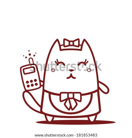 Character maid apron with a bow line art.  Cat female stands smiling and holding an phone - stock vector