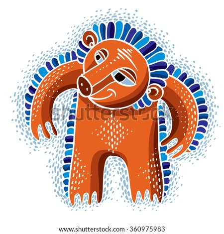 Character monster vector flat illustration, cute orange mutant. Drawing of weird beast, emotional expression.  - stock vector