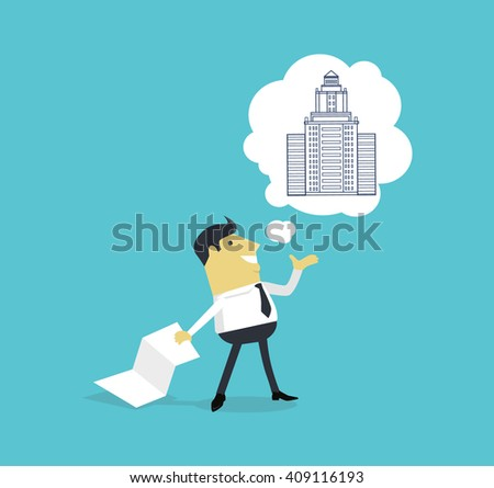 Character of architect with a new project. Successful architect is thinking on the new building projects. Adult male with a sheet of paper projects building on isolated background. Vector illustration - stock vector