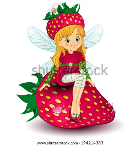 Character of fantasy fairy sitting on a  strawberry-various levels-editable-transparency blending effects and gradient mesh EPS-10. - stock vector