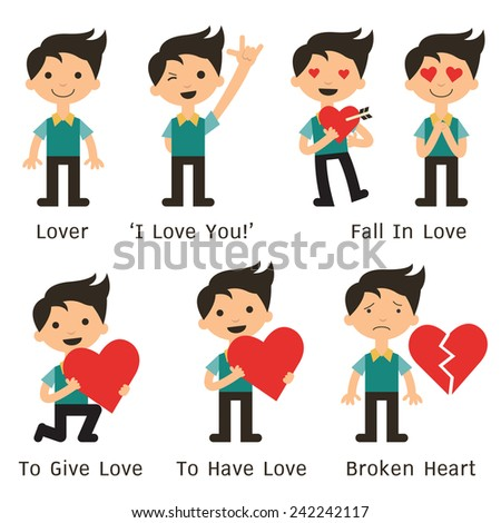 Character of man in various poses about love, fall in love, making hand sign 'I love you', and broken heart. Flat design.  - stock vector
