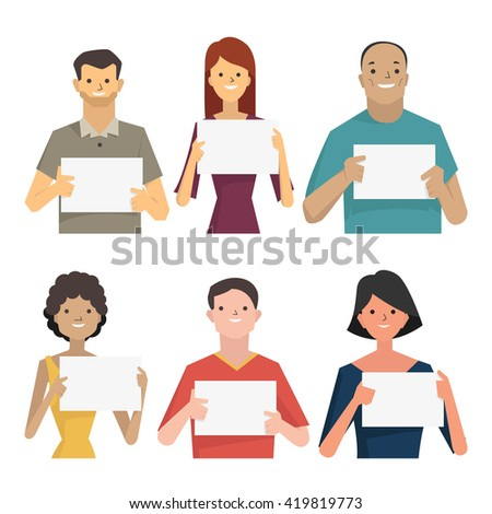 Character of smiling people holding blank banner for your text or copyspace. Diverse, multi-ethnic, flat design characters.  - stock vector