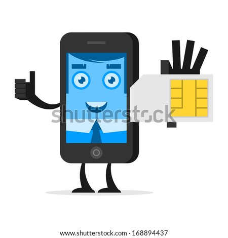 Character phone holds SIM card - stock vector