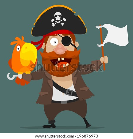 Character pirate with parrot holds white flag - stock vector