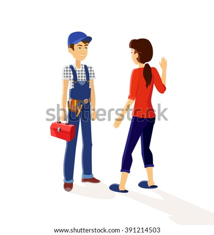Character plumber and housewives. Plumbing working, character worker, occupation maintenance plumber engineer, profession mechanic plumber service vector illustration - stock vector