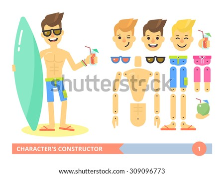 Character's constructor: young fit sexy man on the beach in shorts. Flat animation ready vector customizable doll with separate joints. Extra gestures, facial expressions and items. Surfer guy. Flat - stock vector