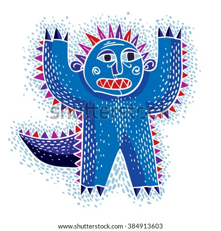 Character scared monster vector flat illustration, cute blue mutant. Drawing of weird beast, emotional expression.  - stock vector