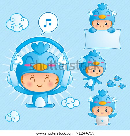 Character set of a boy in blue bird costume. Character set of happy boy in blue bird costume in 4 different pose - stock vector