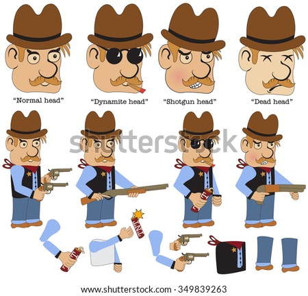 Character sheet for an old west on line game, sheriff - stock vector