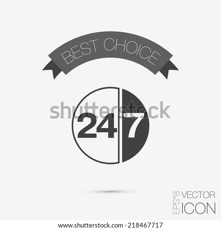 character 24 7 sign. symbol icon clock service - stock vector