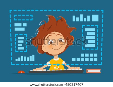 Character vector illustration of a happy smile boy kid child sitting in front of computer monitor Online education - stock vector