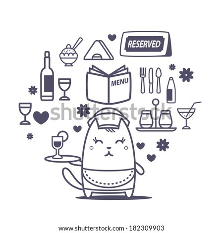 Character waiter in uniform, apron  and hat line art composition of professional accessories. Cat female stands smiling and holding a  tray - stock vector