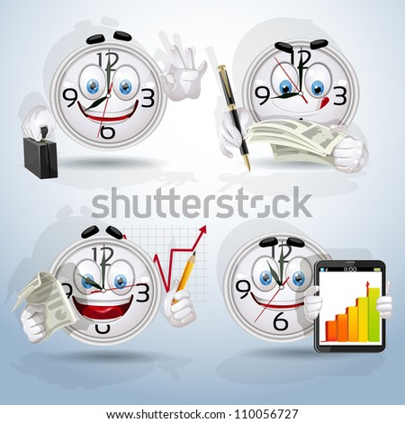Character Watches set - indicative schedule of the employee.  part 1 - stock vector