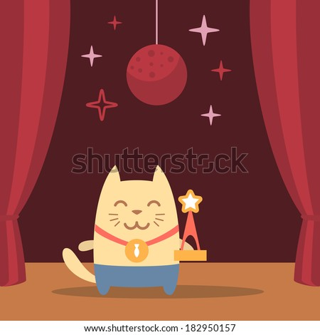 Character winner with a medal colorful flat. Cat male performs on stage holding a award - stock vector