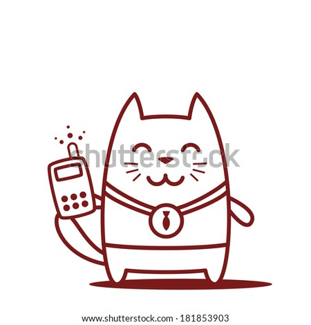 Character winner with a medal line art.  Cat male stands smiling and holding an phone - stock vector