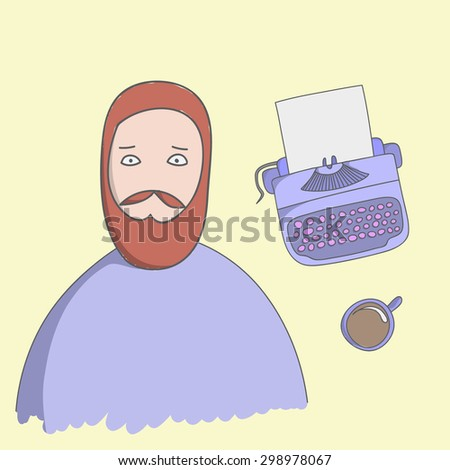 Character writer Guy illustration with typewriter, coffee and ashtray on a yellow background - stock vector