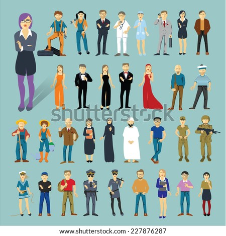 Characters and professions. 34 flat design vector objects. - stock vector