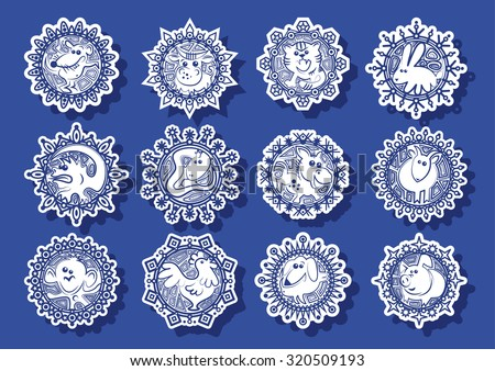 Characters Chinese zodiac signs in the white snowflakes on a blue background.Vector illustration - stock vector
