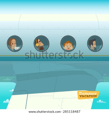 Characters in airplane vector illustration - stock vector