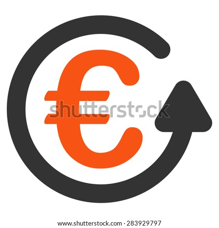 Chargeback from BiColor Euro Banking Icon Set. Vector style: flat bicolor, orange and gray symbol, rounded angles, white background. - stock vector