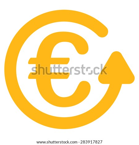 Chargeback from BiColor Euro Banking Icon Set. Vector style: flat, yellow symbol, rounded angles, white background. - stock vector
