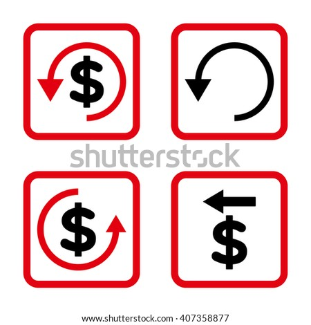 Chargeback vector bicolor icon. Image style is a flat icon symbol inside a square rounded frame, intensive red and black colors, white background. - stock vector