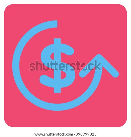 Chargeback vector icon. Image style is bicolor flat chargeback iconic symbol drawn on a rounded square with pink and blue colors. - stock vector