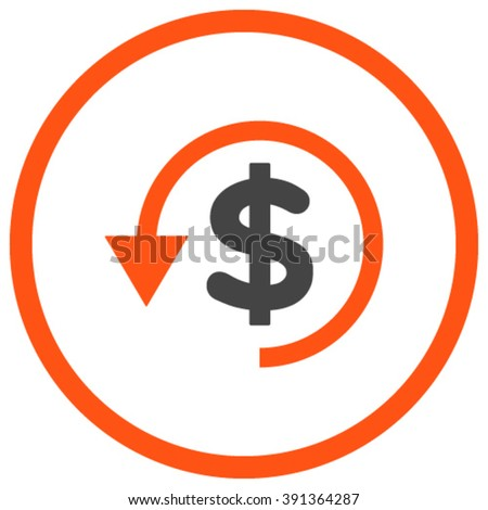 Chargeback vector icon. Style is bicolor flat rounded iconic symbol, chargeback icon is drawn with orange and gray colors on a white background. - stock vector