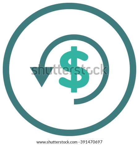 Chargeback vector icon. Style is bicolor flat rounded iconic symbol, chargeback icon is drawn with cobalt and cyan colors on a white background. - stock vector