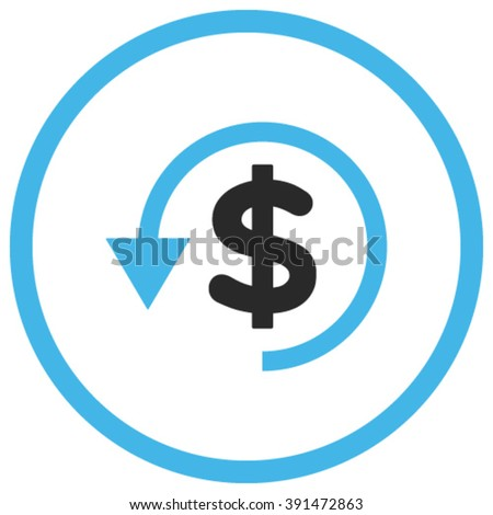 Chargeback vector icon. Style is bicolor flat rounded iconic symbol, chargeback icon is drawn with blue and gray colors on a white background. - stock vector