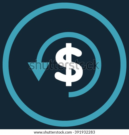 Chargeback vector icon. Style is bicolor flat rounded iconic symbol, chargeback icon is drawn with blue and white colors on a dark blue background. - stock vector