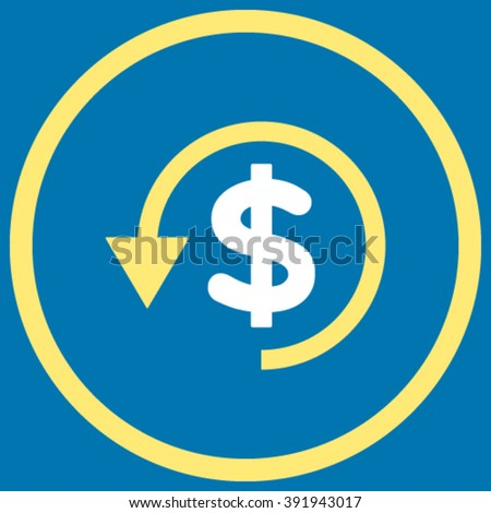 Chargeback vector icon. Style is bicolor flat rounded iconic symbol, chargeback icon is drawn with yellow and white colors on a blue background. - stock vector