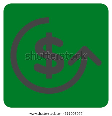 Chargeback vector icon symbol. Image style is bicolor flat chargeback icon symbol drawn on a rounded square with green and gray colors. - stock vector
