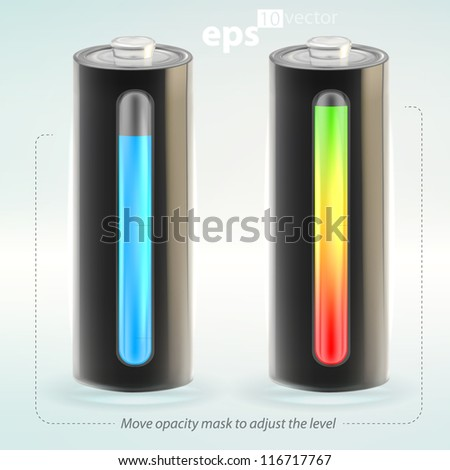 Charging battery charge copyspace indicator vector eps10 illustration, cute, empty and glossy - stock vector