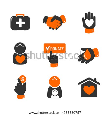 Charity and donation icons - stock vector
