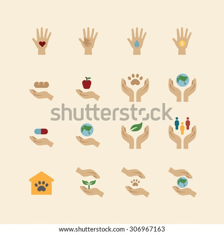 charity and donation icons flat line design vector - stock vector