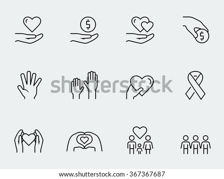 Charity, donation and volunteering icon set in thin line style - stock vector