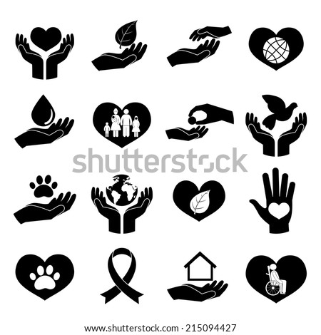 Charity donation social services and volunteer black icons pictogram set isolated vector illustration - stock vector