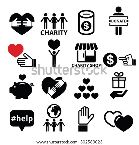 Charity, helping other people icons  - stock vector
