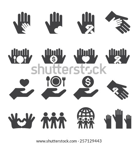 Charity icons set - stock vector