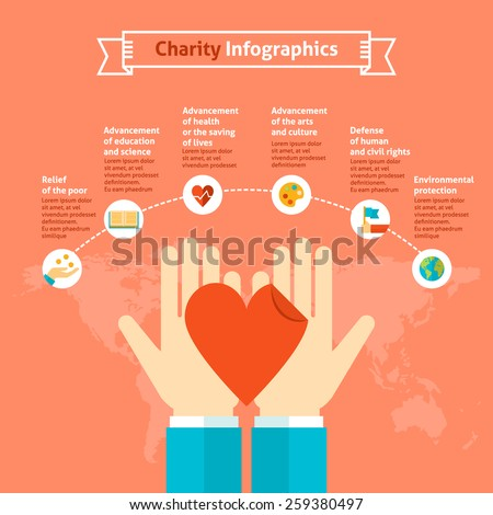 Charity infographics with 6 charitable purposes as options and illustration concept of hands holding heart, vector template for graph, presentation, chart isolated on bright background - stock vector