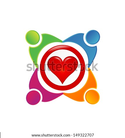 Charity people community vector- People symbols working as team - stock vector