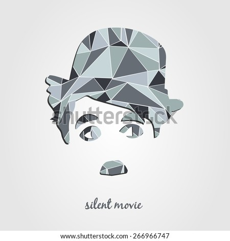 Charlie Chaplin silhouette. Silent movie poster, vector illustrations - stock vector