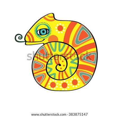 Charming Chameleon vector illustration of the chameleon - stock vector