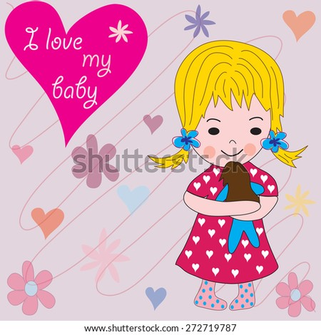 charming little girl with a baby and flowers and hearts vector illustration - stock vector