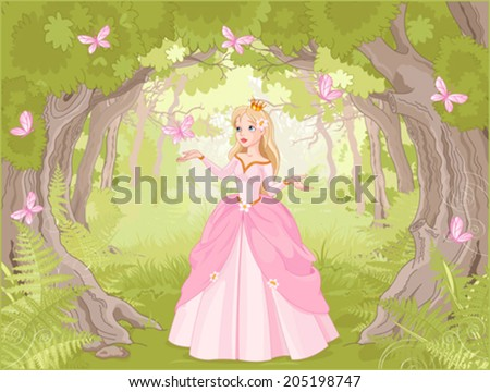 Charming princess a fantastic wood surrounded by butterflies - stock vector