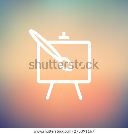 Chart and a paint brush icon thin line for web and mobile, modern minimalistic flat design. Vector white icon on gradient mesh background. - stock vector
